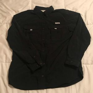 Columbia PFG Black Long Sleeve Button Down Shirt